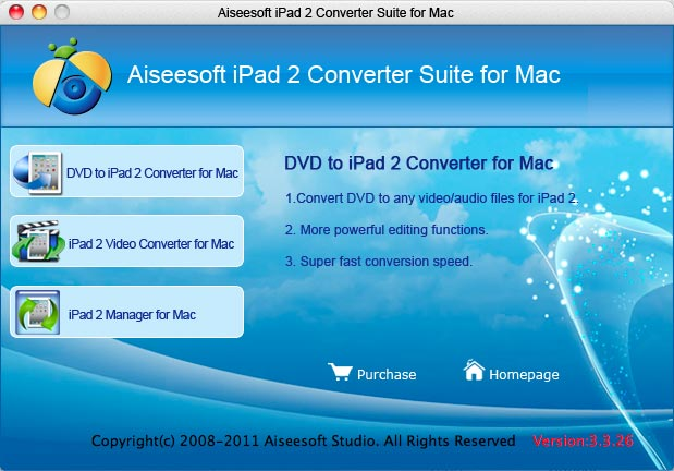 Aiseesoft iPad 2 Converter Suite for Mac Screenshot