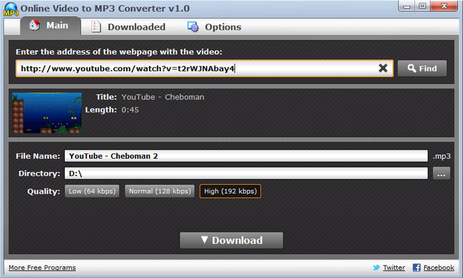 Online Video to MP3 Converter Screenshot