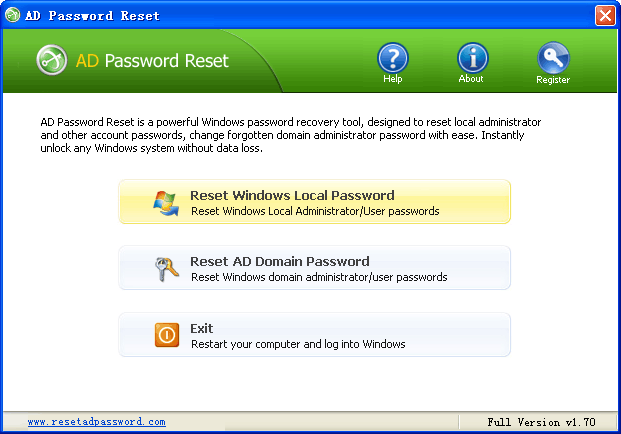 AD Password Reset Screenshot