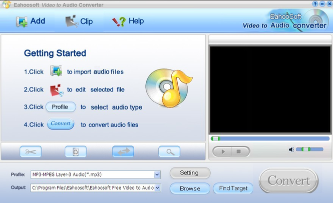 Eahoosoft Video to Audio Converter Screenshot