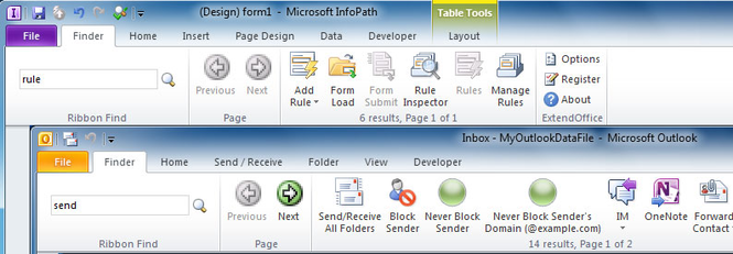 Ribbon Finder for Office Professional Plus 2010 Screenshot