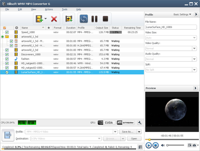 Xilisoft WMV MP4 Converter Screenshot 1