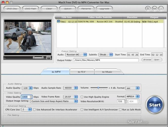 MacX Free DVD to MP4 Converter for Mac Screenshot 2