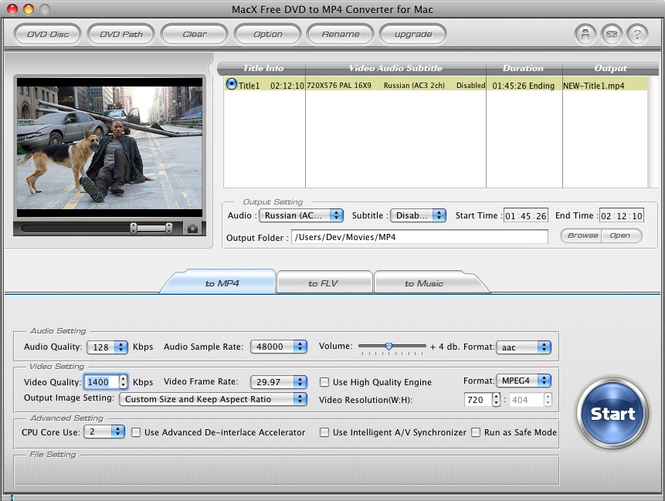 MacX Free DVD to MP4 Converter for Mac Screenshot