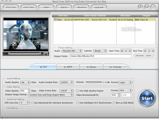 MacX Free DVD to YouTube Converter Mac Screenshot 2