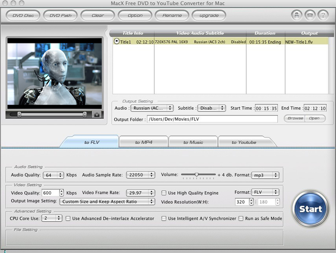 MacX Free DVD to YouTube Converter Mac Screenshot 1