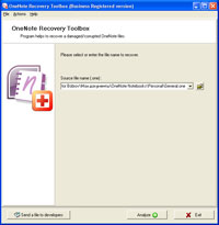 OneNote Recovery Toolbox Screenshot