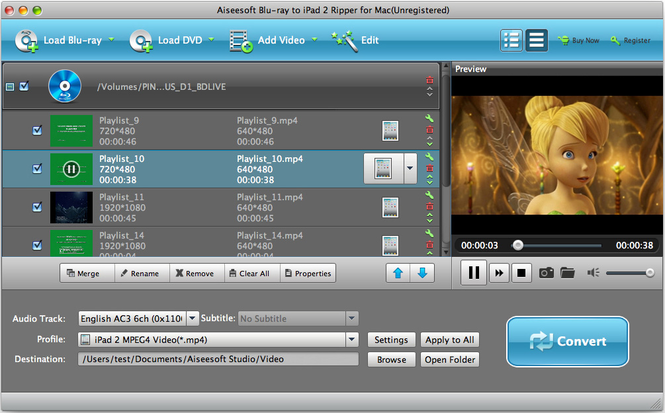 Aiseesoft Mac Blu-ray to iPad 2 Ripper Screenshot