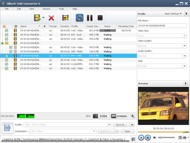 Xilisoft XviD Converter Screenshot