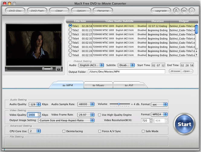 MacX Free DVD to iMovie Converter Screenshot