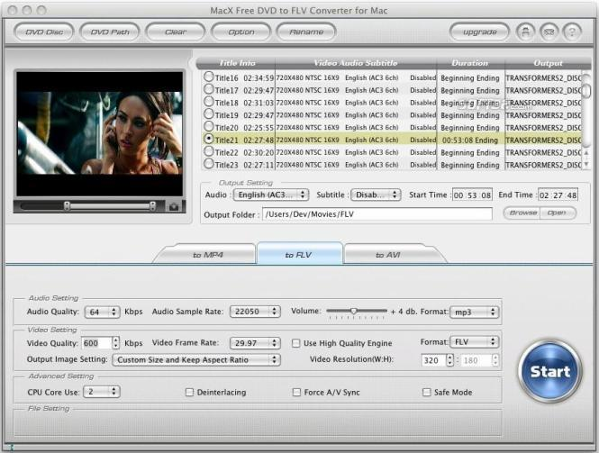 MacX Free DVD to FLV Converter for Mac Screenshot 3