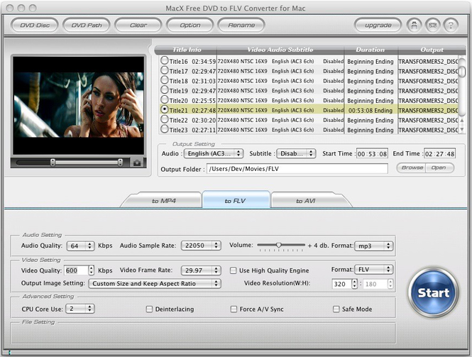 MacX Free DVD to FLV Converter for Mac Screenshot