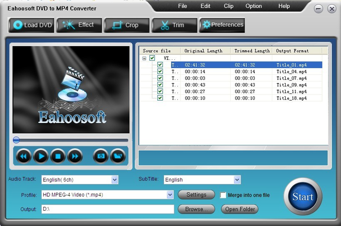 Eahoosoft DVD to MP4 Converter Screenshot