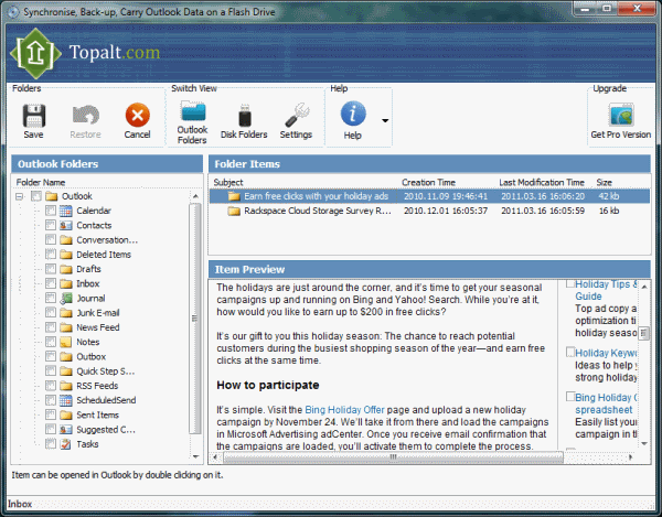 Syncsi Portable for Outlook Screenshot