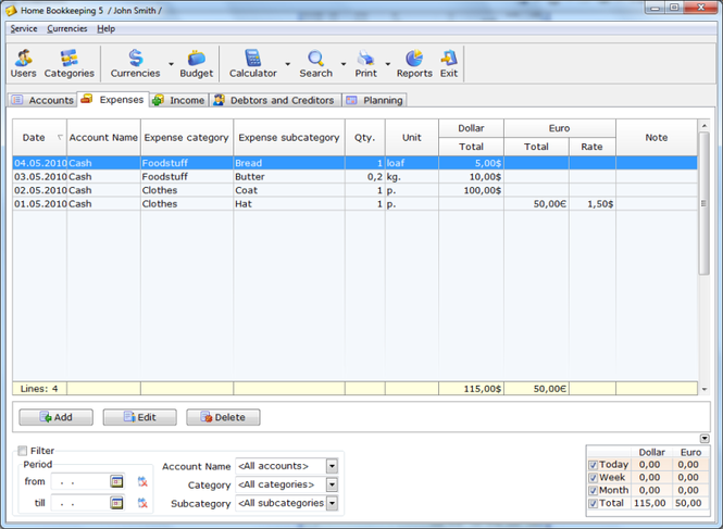 Home Bookkeeping Screenshot 1