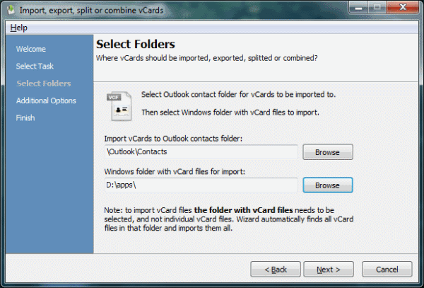 vCard ImportExport for Outlook Screenshot