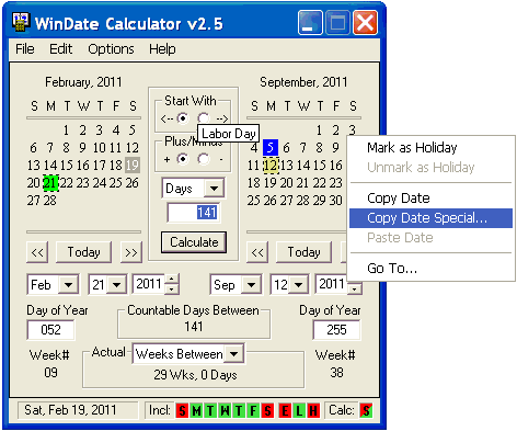 WinDate Calculator Screenshot