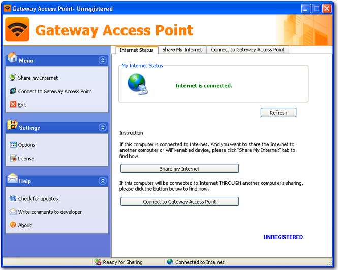 Gateway Access Point Screenshot