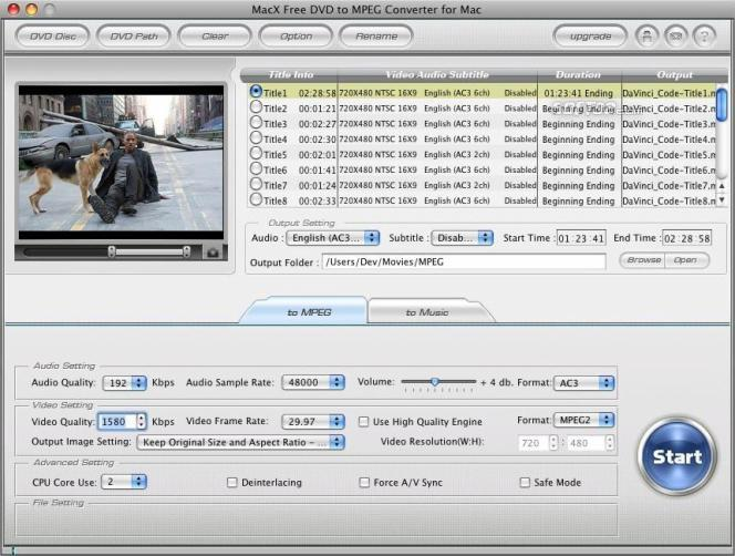 MacX Free DVD to MPEG Converter for Mac Screenshot 2
