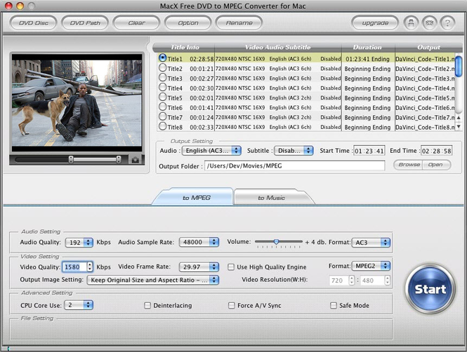 MacX Free DVD to MPEG Converter for Mac Screenshot