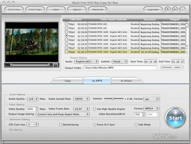 MacX Free DVD Rip Copy for Mac Screenshot 2