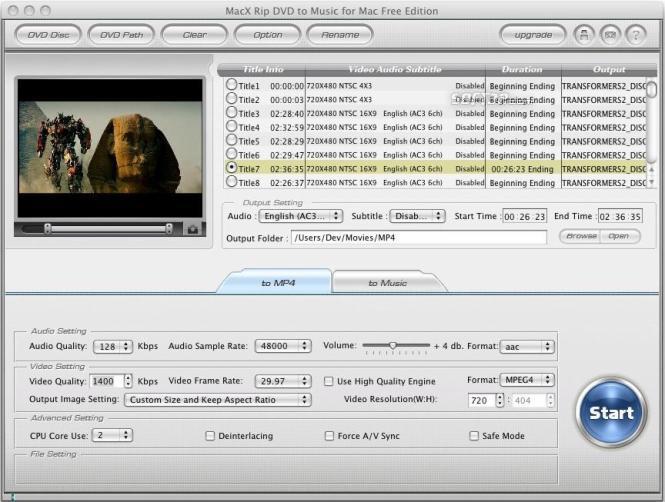 MacX Rip DVD to Music for Mac Free Screenshot 2