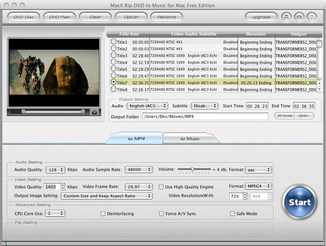 MacX Rip DVD to Music for Mac Free Screenshot