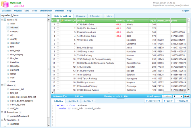 MyWebSQL Screenshot