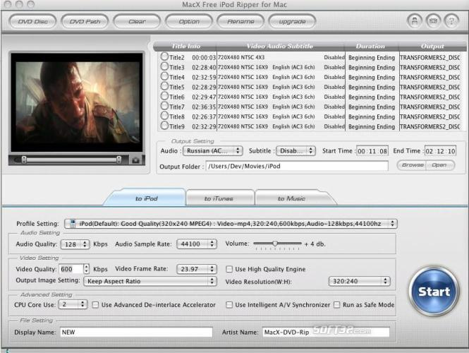 MacX Free iPod Ripper for Mac Screenshot 2