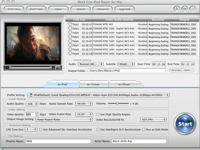 MacX Free iPod Ripper for Mac Screenshot 1