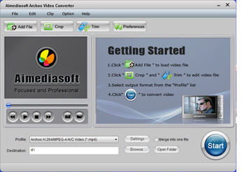 Aimediasoft Archos Video Converter Screenshot 1