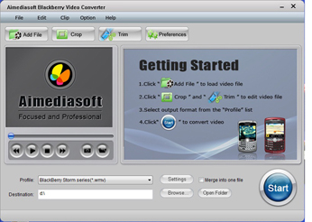 Aimediasoft Blackberry Video Converter Screenshot