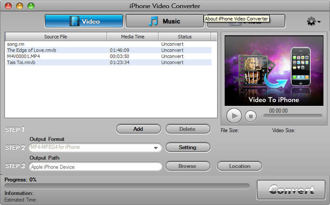 Aviosoft iPhone Video Converter Screenshot