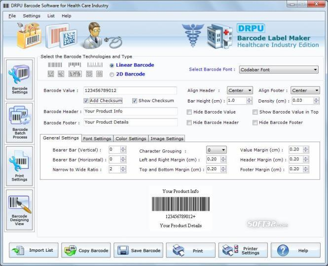 Healthcare Industry Barcode Label Maker Screenshot 2