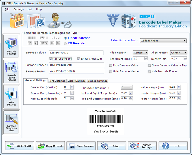 Healthcare Industry Barcode Label Maker Screenshot 1