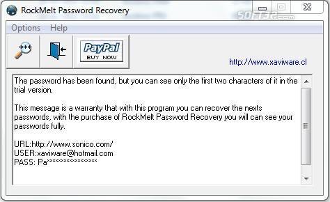 RockMelt Password Recovery Screenshot 2