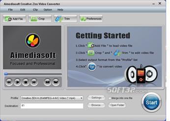 Aimediasoft Creative Zen Converter Screenshot 2