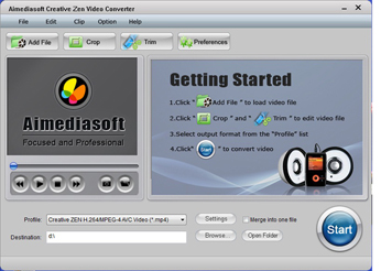 Aimediasoft Creative Zen Converter Screenshot 1