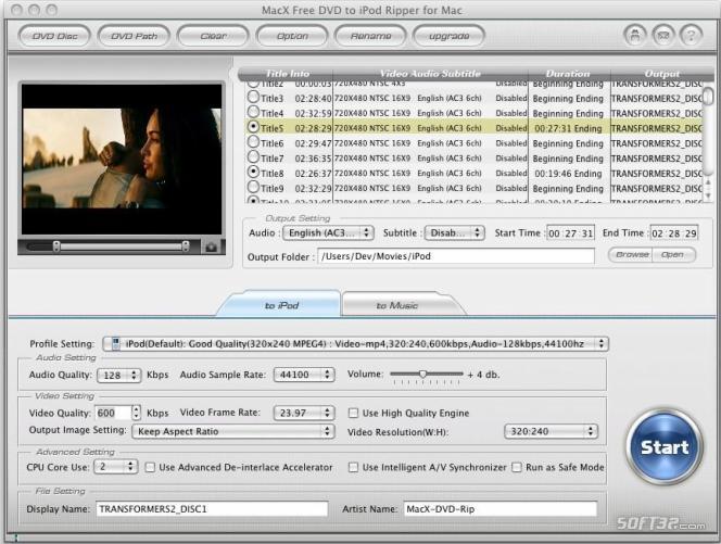 MacX Free DVD to iPod Ripper for Mac Screenshot 3