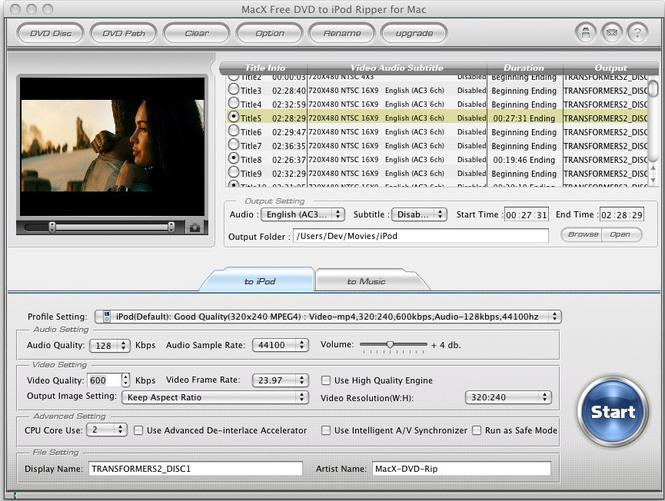 MacX Free DVD to iPod Ripper for Mac Screenshot