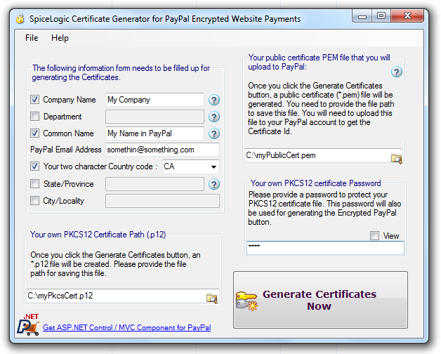 PayPal Certificate Generator for Encrypted Website Payments Screenshot