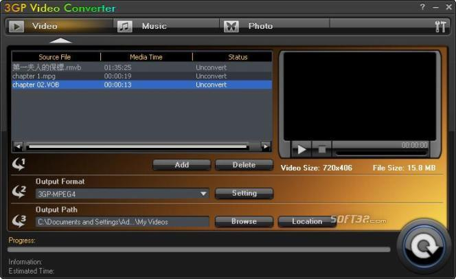 Aviosoft 3GP Video Converter Screenshot