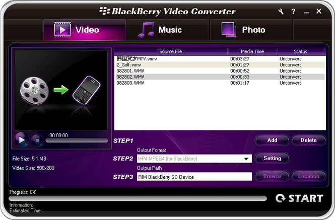 Aviosoft Blackberry Video Converter Screenshot 2