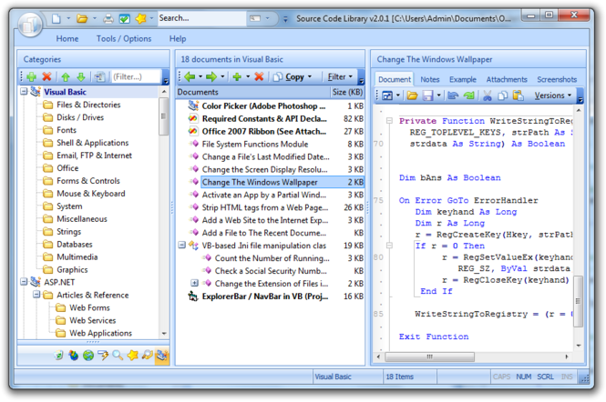 ASP Code Library Screenshot 3