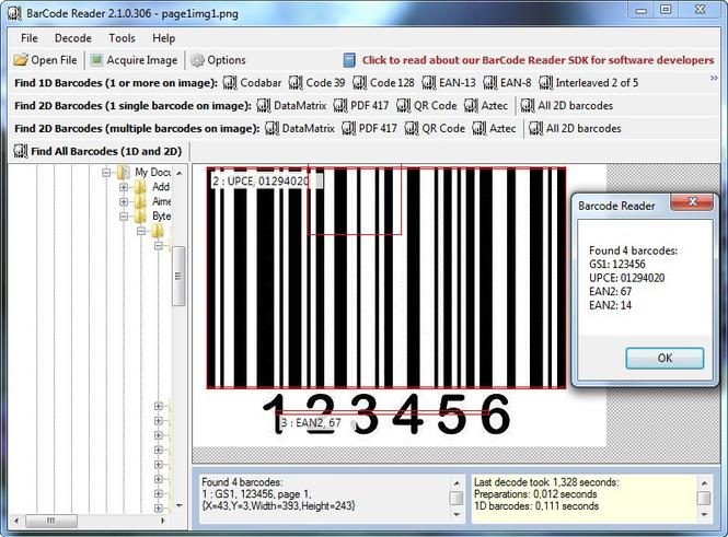 Bytescout BarCode Reader SDK Screenshot