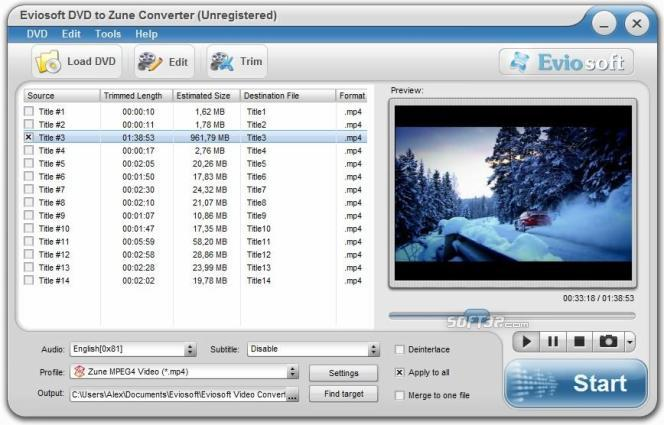 Eviosoft DVD to Zune Converter Screenshot 2