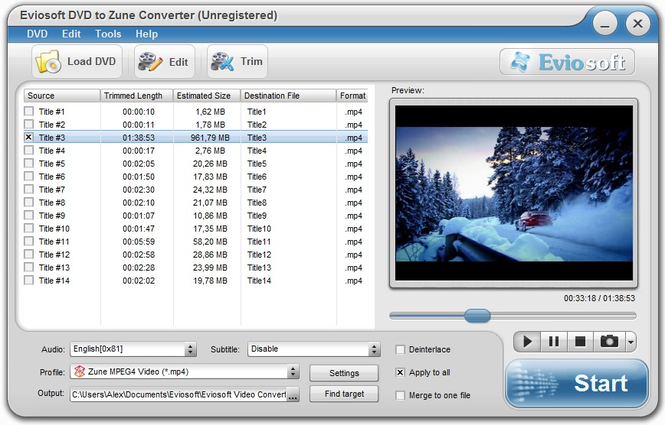 Eviosoft DVD to Zune Converter Screenshot