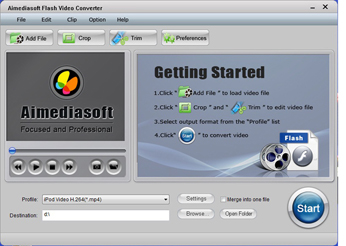 Aimediasoft Flash Video Converter Screenshot 1