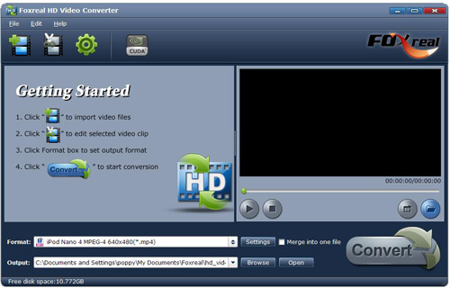 Foxreal HD Video Converter Screenshot