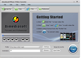 Aimediasoft iPhone 4  Video  Converter Screenshot